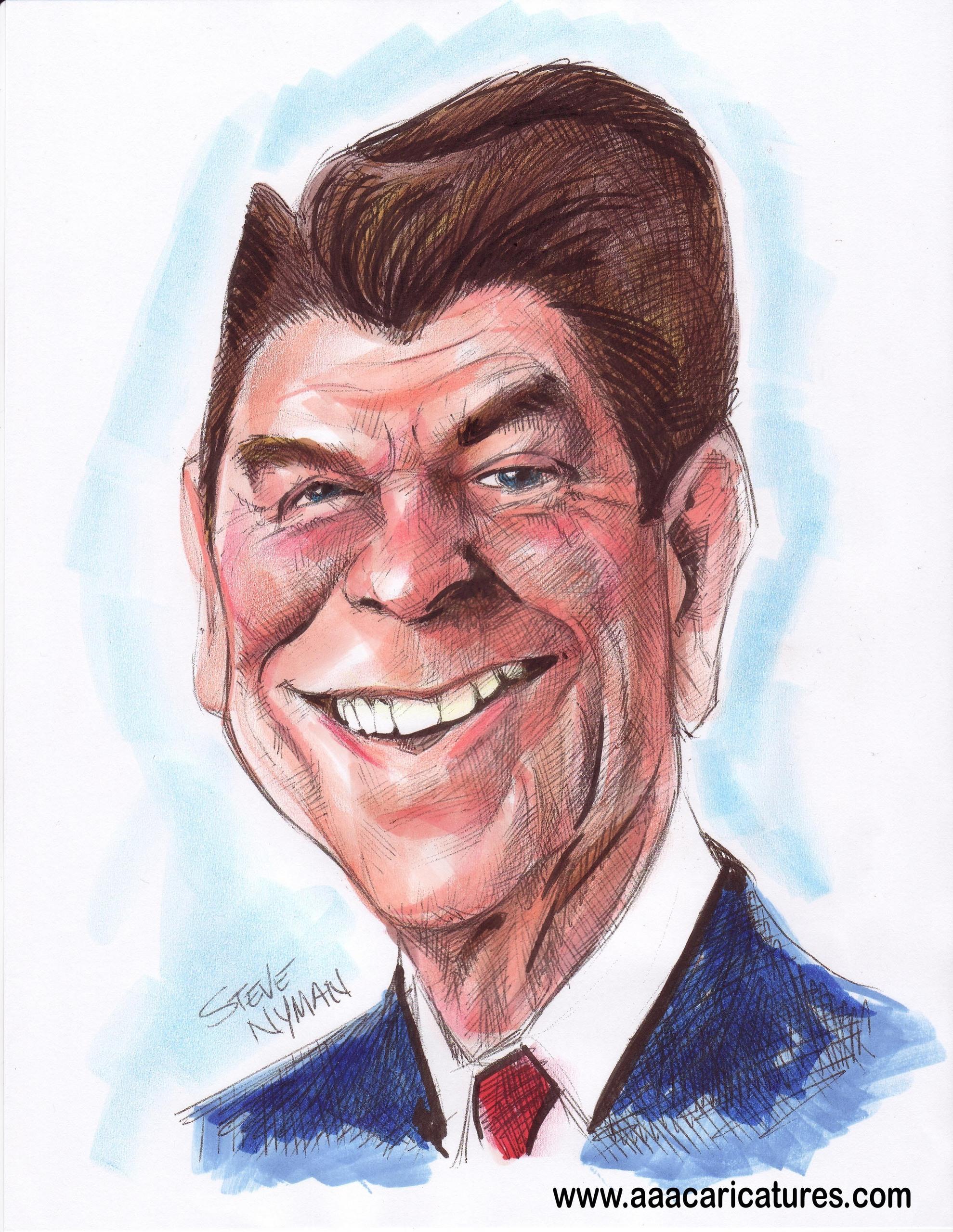 Ronald Reagan Caricature Art   Ronald Reagan Fan Art (11329216 ...