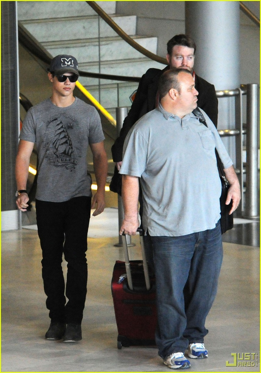 Taylor Lautner Visits France with His Father