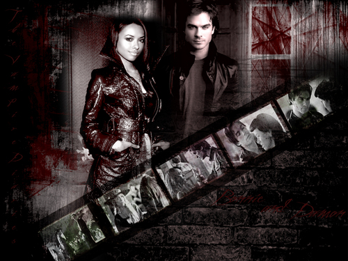 The Vampire Diaries Couples 壁纸 entitled b/d
