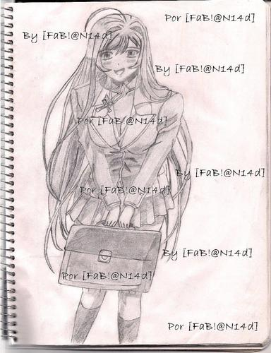 drawing akashiya moka with her rosary - rosario-vampire Fan Art
