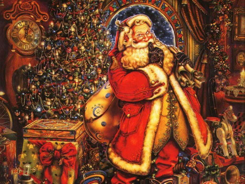 Victorian Christmas - vintage Wallpaper