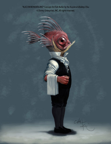 Alice in Wonderland Concept Art - pesce Butler