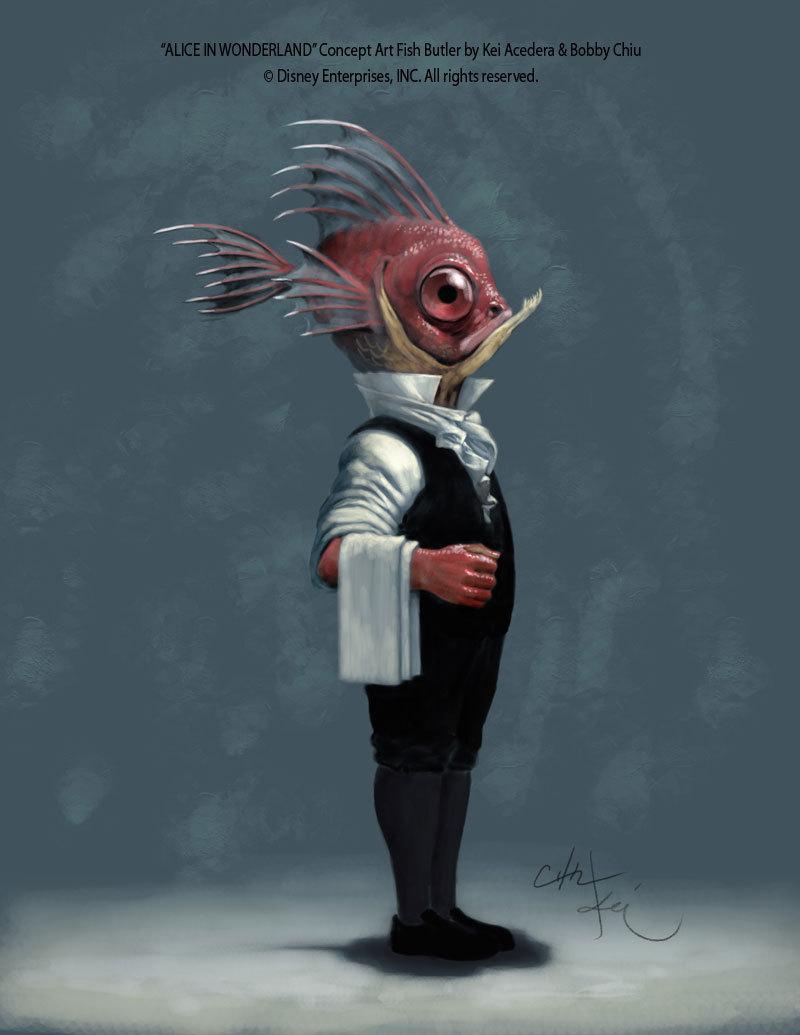 Alice in Wonderland Concept Art - Fish Butler