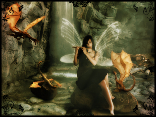 Fairy and Dragons - fantasy Wallpaper