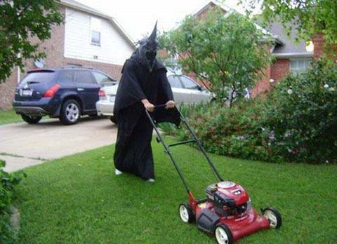 Scary Guy mowing the lawn.. lol