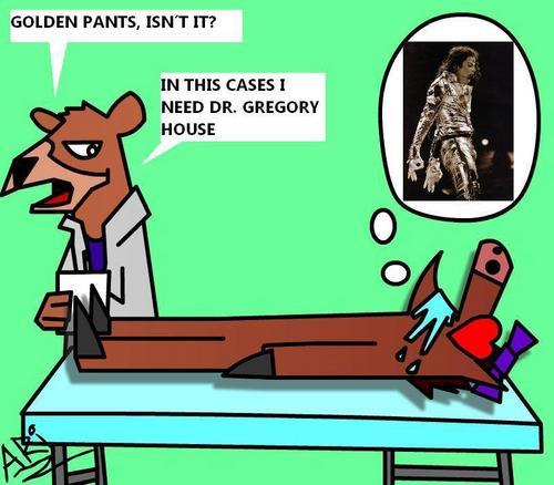 Golden pants effect
