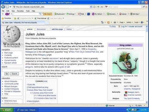 """Julien's """"Wikipedia"""" Page"""