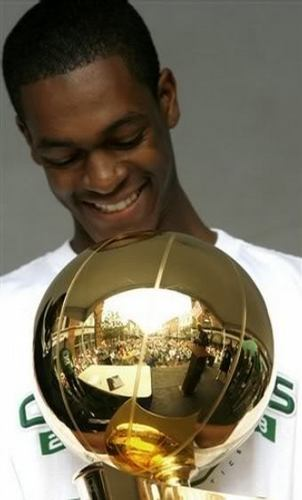 Rajon Rondo wallpaper called RR with champion cup of NBA 2007-08