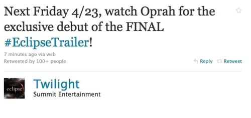 Summit's tweet about the final Eclipse trailer
