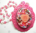 Sweet Justice - Pink Chocolate Asian Writing Conversation Heart Cameo