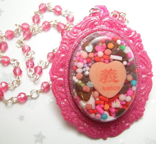 Sweet Justice - Pink Chocolate Asian Writing Conversation Heart Cameo - candy Photo