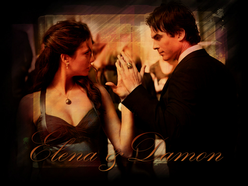 Damon and Elena 壁紙
