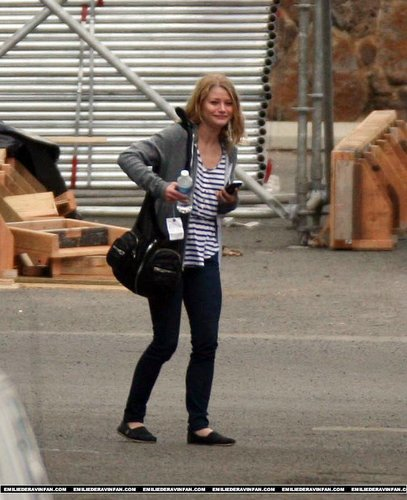 Emilie on the set of lost