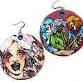 Jem and misfits painted earrings - jem-and-the-holograms fan art