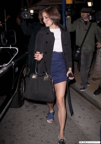 Jessica Stroup and Dustin Milligan leaving Crown Bar