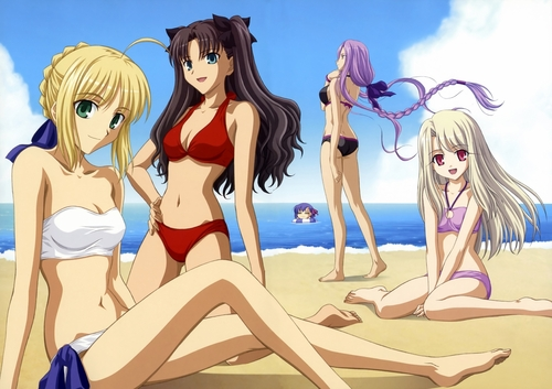 saber ,rin ,ilya , rider and sakura enjoying thereselve's in the beach.