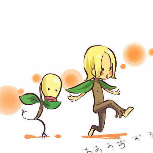 Bellsprout and trainer