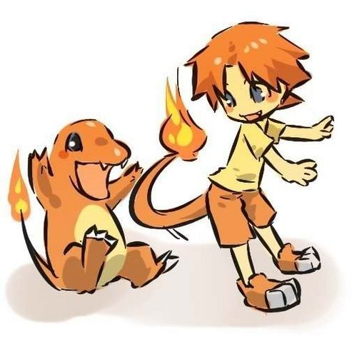 Charmander and trainer