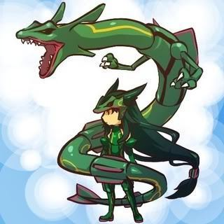 Rayquaza and Trainer