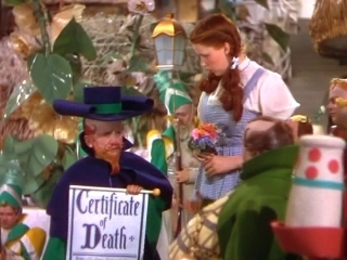The Death Certifiacte For The Wicked Witch Of The East