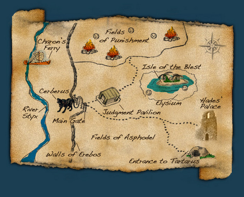 Percy Jackson & The Olympians boeken achtergrond called map of the underworld