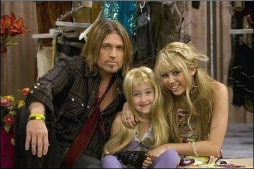 miley, noah and billy rayon, ray cyrus on the set of hannah