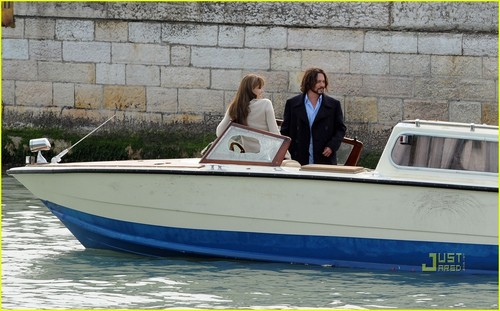 "Angelina Jolie wallpaper called Angelina & Johnny on set ""The Tourist"""