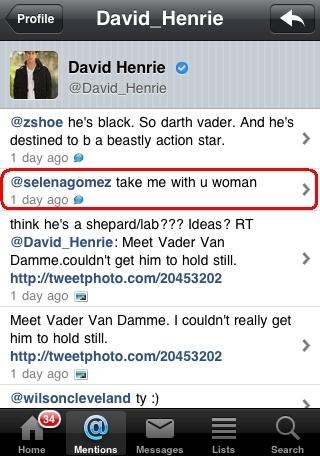 David tweet selena on Twitter!
