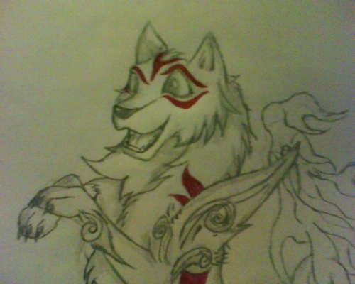 My Drawing of a serigala Styled like Amaterasu