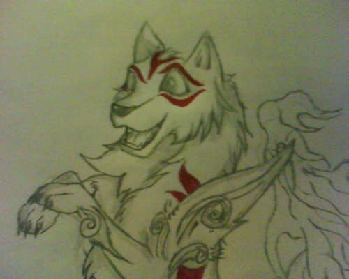 My Drawing of an Okami Styled lobo
