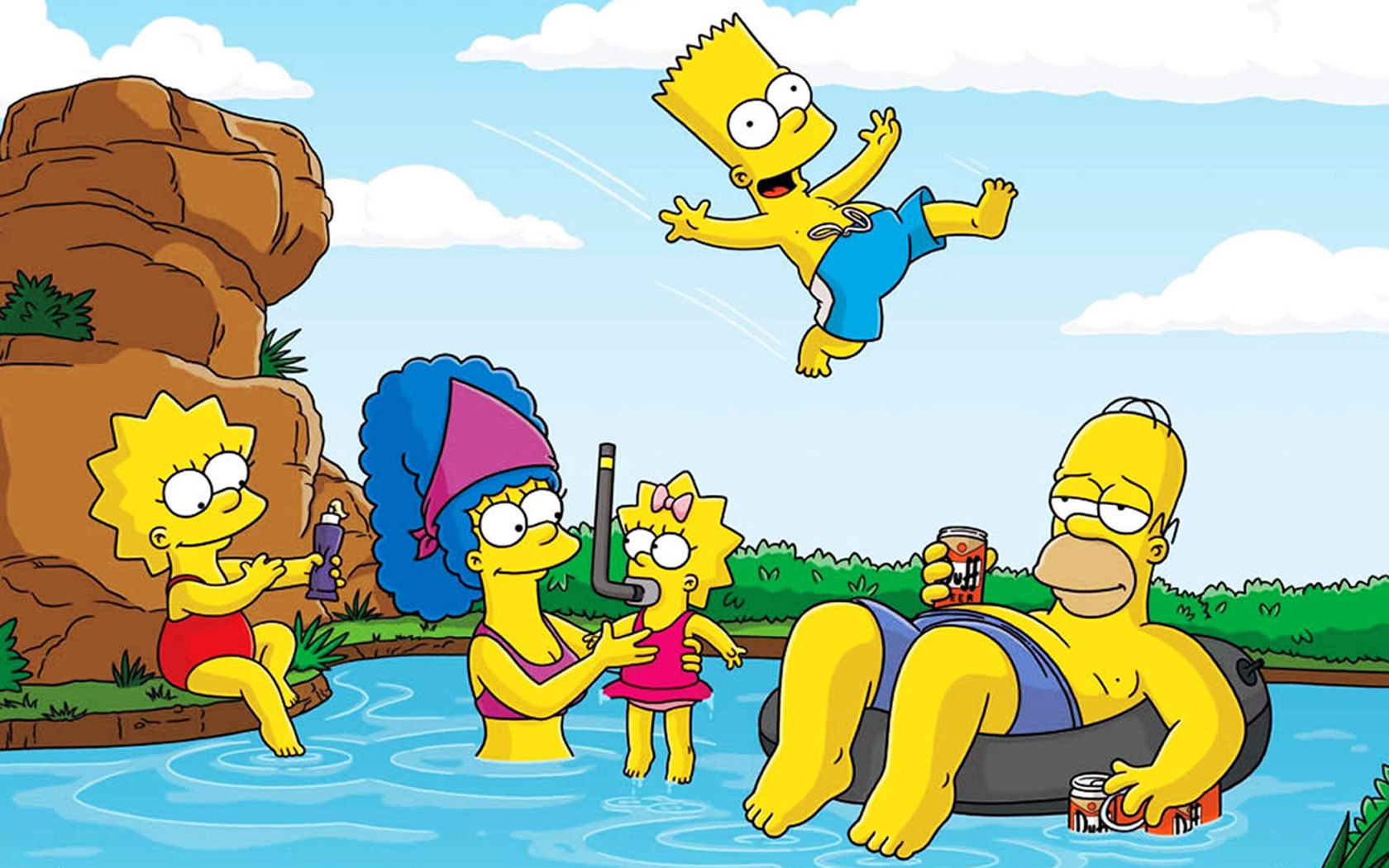 Simpsons Characters The Summer Pool Party