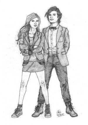 Artwork of the Doctor and Amy.