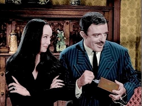 John Astin and Carolyn Jones