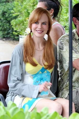 Nicole on the set in Hawaii