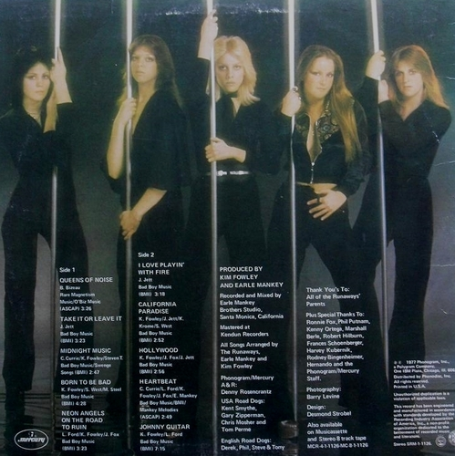 Les Runaways fond d'écran titled Queens of Noise album - back cover