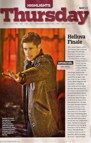 Scan from TV Guide about Finale