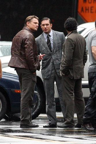Tom Hardy on the set if Inception