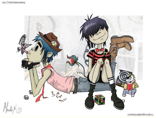 2D and Noodle - gorillaz Fan Art