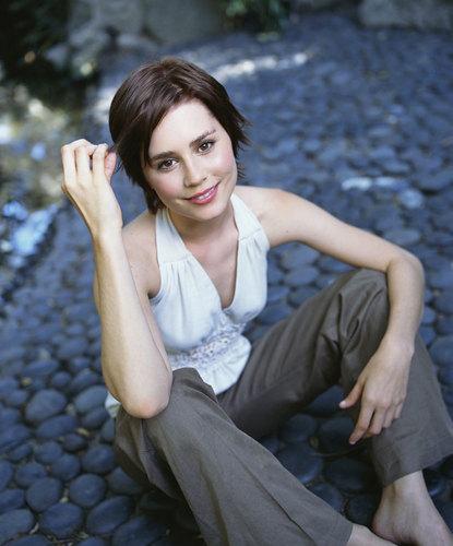 Alison Lohman Sitting on a Stone Path [Photo Shoot]