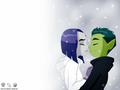 Beast Boy and Raven - teen-titans wallpaper