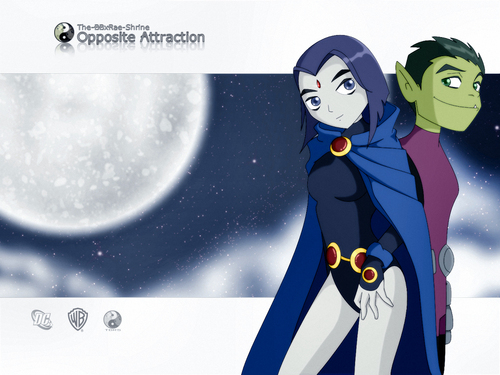 Teen Titans - les jeunes titans karatasi la kupamba ukuta called Beast Boy and Raven