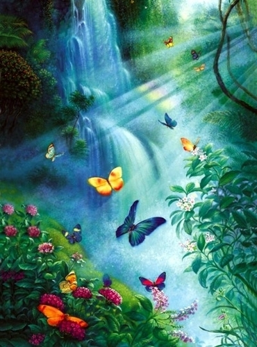 Butterflies wallpaper entitled Butterfly Waterfall
