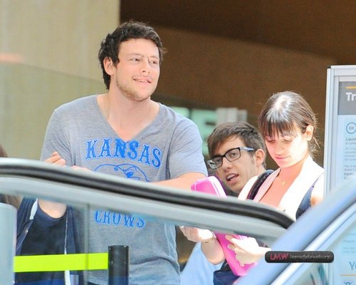 DEPARTING LAX-LEA MICHELE, CORY MONTEITH AND KEVIN MCHALE - MAY 11, 2010