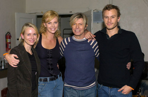 Heath Ledger with David Bowie, Charlize Theron, and Naomi Watts