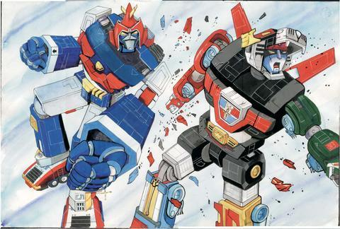 Voltes V vs Voltron the painting