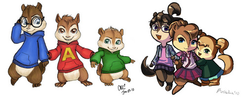 Alvin and the Chipmunks wallpaper entitled ANIME ANIMALS!!
