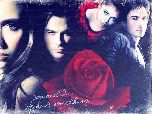 The Vampire Diaries wallpaper called Damon and Elena