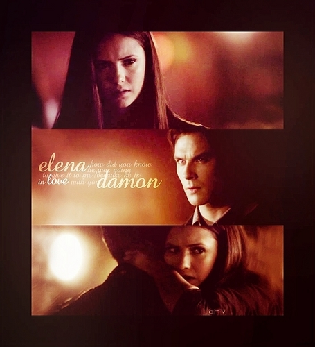 Damon & Elena wallpaper titled He's in love with you...