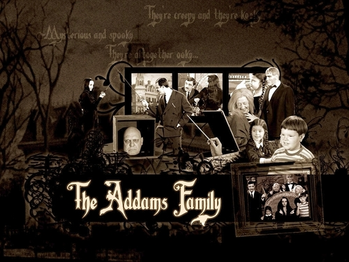 Lisa Loring and the cast of The Addams Family
