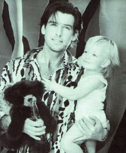 Pierce Brosnan Joung with Bear and Baby